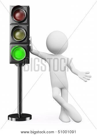 3D White People. Green Traffic Light