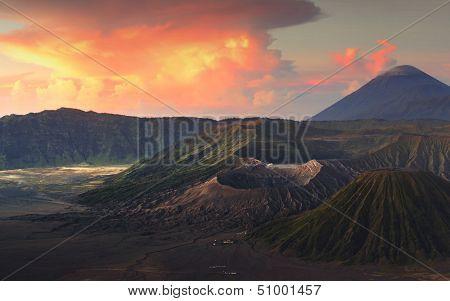 Sunrise over valley with volcanoes Bromo, Batok and Semeru. Java island, Indonesia