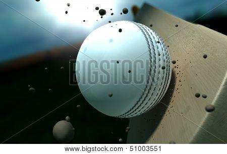 Cricket Ball Striking Bat With Particles At Night