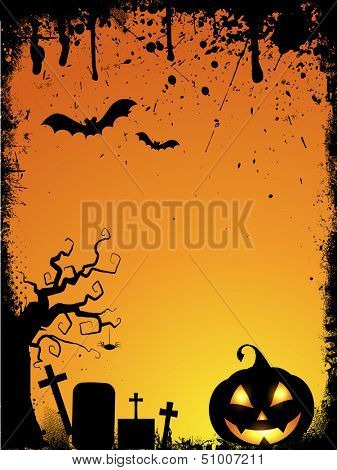 Grunge style Halloween background with spooky pumpkin and drips