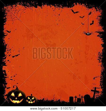 Grunge style Halloween background with pumpkins
