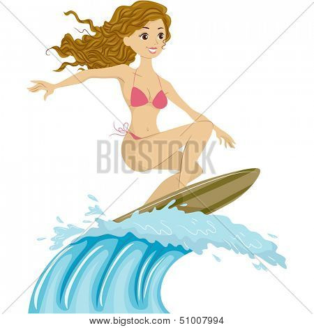 Illustration of a Female Surfer Riding the Waves