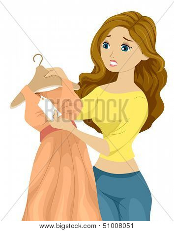 Illustration of a Woman Holding a Beautiful Dress Looking at the Price Tag with Regret