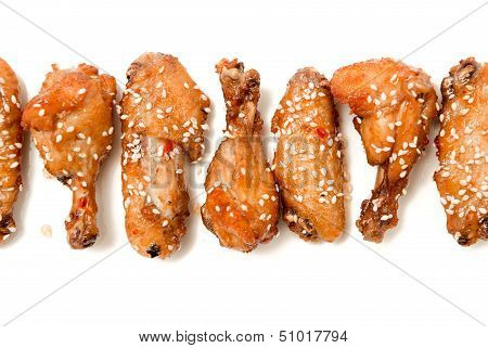 set of fried chicken legs isolated