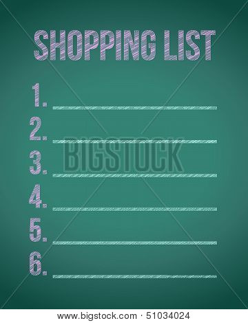 Shopping List Chalkboard Illustration Design