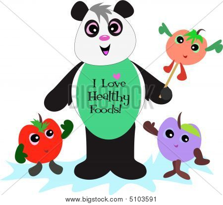 Panda Bear supports eating healthy foods including fruits. poster