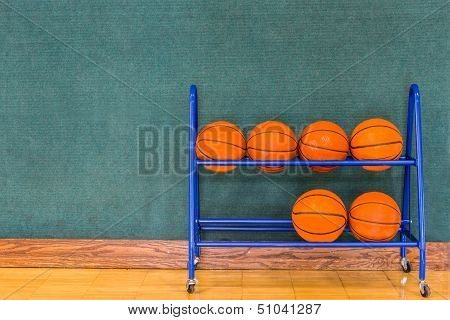 Basketballs in a Storage Rack