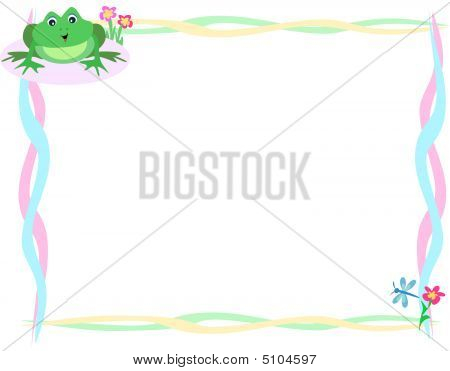 Frame Of Cute Frog And Dragonfly
