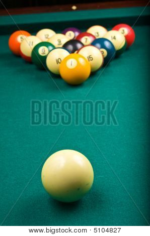 Racked Billiard Balls And Cue Ball