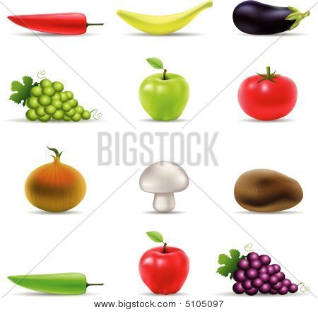 3D Fruit And Vegetables Icons