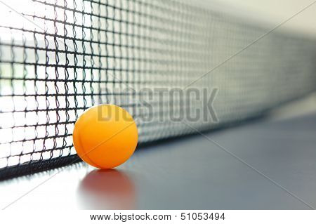 Orange table tennis ball on blue table with net poster