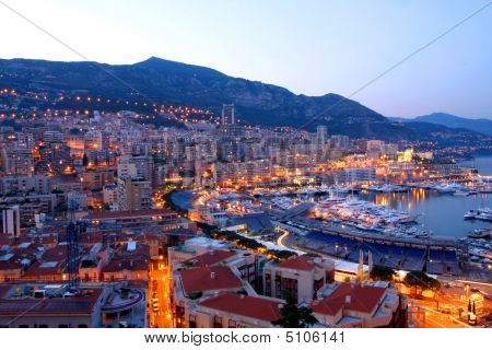details shot of View of Monaco at night poster