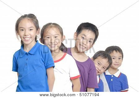 poster of Five cute children smiling on white background