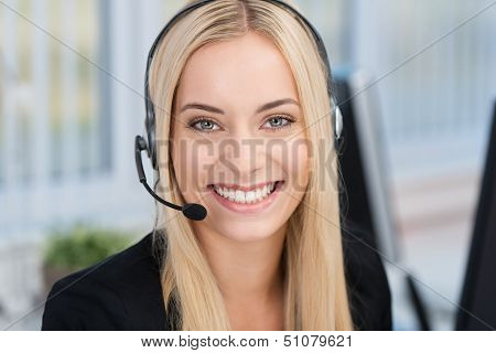 Smiling Woman Wearing A Headset