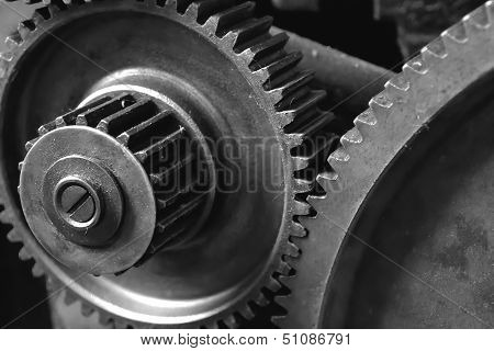 Closeup of gears from an old machine