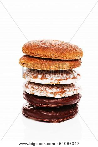 Stack Of Different Lebkuchen Gingerbread Cookies