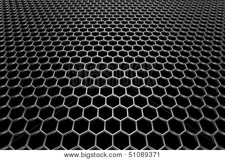 Steel grid with hexagonal holes and reflection on black background in perspective view poster