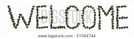 word welcome made from coffee beans