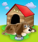 Dog resting in front of kennel - color illustration. poster
