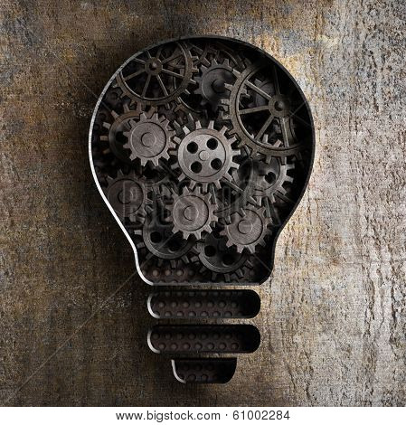 lighting bulb business concept with working gears and cogs in rusty metal background poster