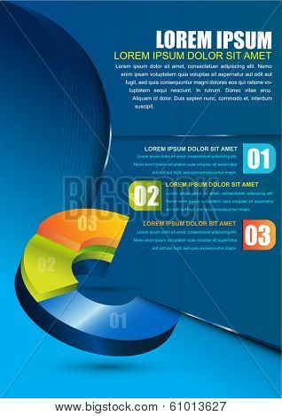 Vector business background with 3D graph with three colored levels. Can be used for brochures, posters, flyers and other printed material