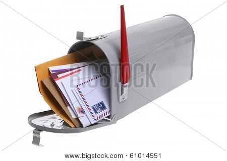 Grey Mailbox full of mail isolated on a white background