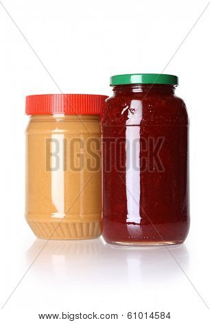 Jars of peanut butter and jelly, cutout on white background