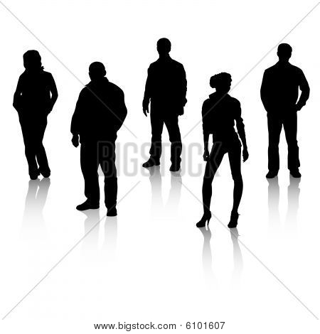 Black silhouettes of people with reflexion.eps