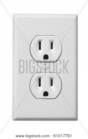 White electrical outlet faceplate on white background