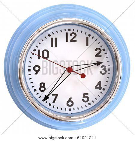 Basic blue clock on white