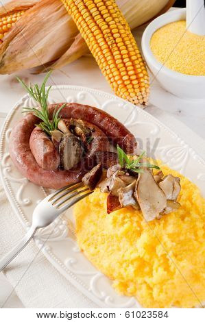polenta sausage and mushroom
