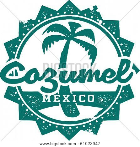 Vintage Style Cozumel Mexico Vacation Stamp