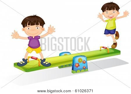 Illustration of the kids playing with the seesaw on a white background