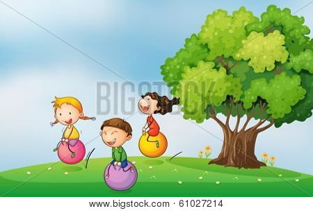 Illustration of the three kids at the hilltop playing with the bouncing balls