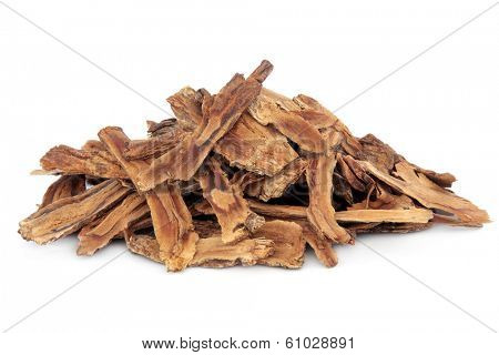 Gentian root herb used in chinese herbal medicine over white background. Qing jiao. Gentiana macrophylla.