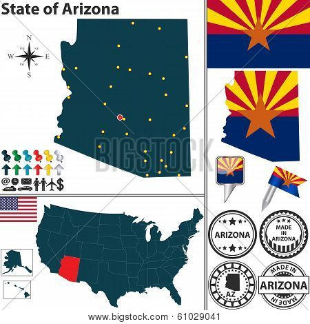 Vector set of Arizona state with flag and icons on white background poster