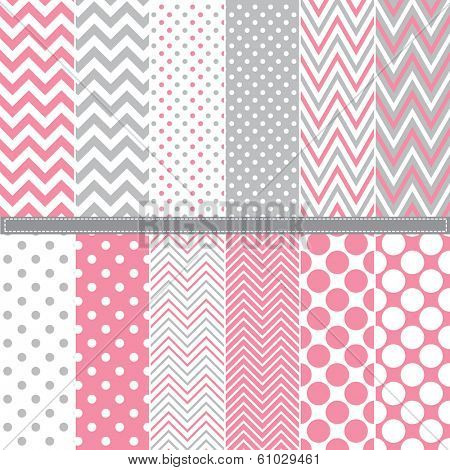 Polka Dot and Chevron seamless pattern set - Illustration A set of 12 Polka Dot and Chevron seamless pattern set.