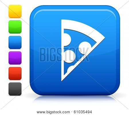 Pizza Icon on Square Internet Button Collection