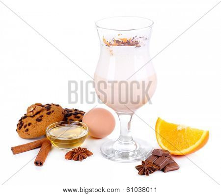 Eggnog with spices and orange isolated on white poster