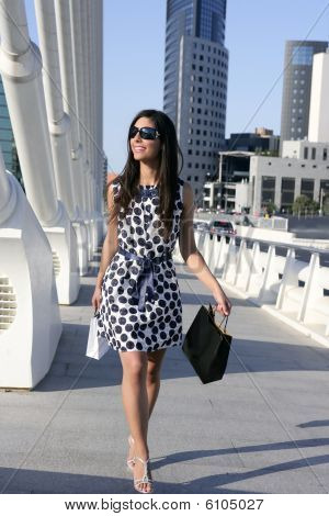 Beautiful Brunette Shopaholic Outdoor City