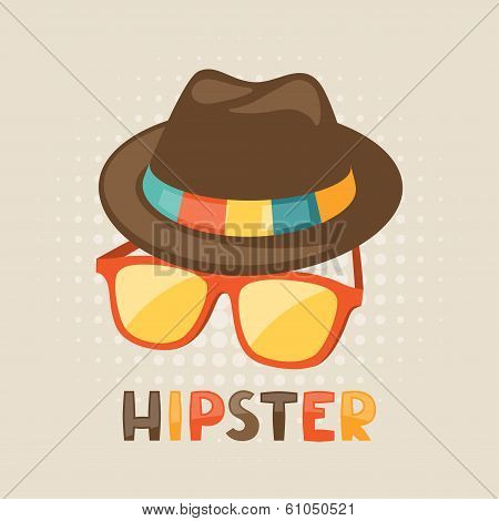 Design with hat and glasses in hipster style.