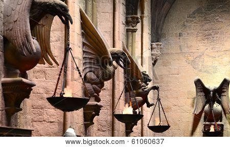 Wall carvings in Hogwarts Great Hall at the Harry Potter Warner Bros. Studio, London