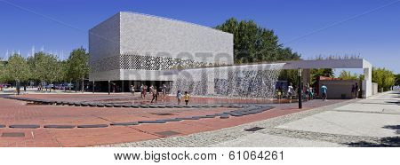 Lisbon, Portugal. August 02, 2013: Waterfall of the Jardins D�¢??���gua (Water Gardens) in the Parque das Na���§���µes (Park of Nations).