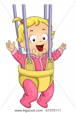 Illustration of a Baby Girl Strapped to a Door Bouncer/