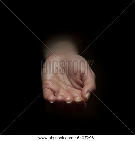 Woman begging with outstretched hands. Hands reaching out . poster