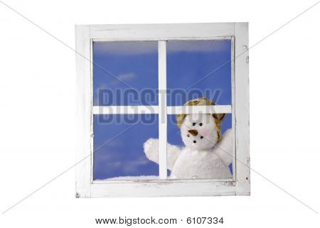 Snowman Looking Trough A Window