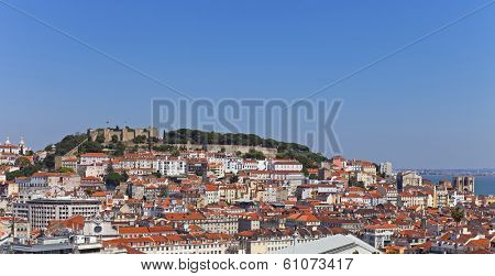 View of the Sao Jorge Castle, the historical Baixa (downtown), Alfama and Mouraria Districts of Lisbon, Portugal.