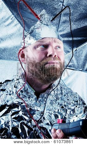 Paranoid Dude with a Tin Foil Hat