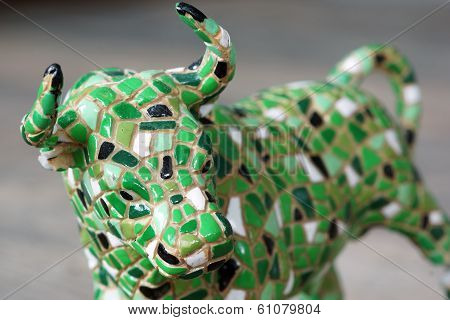 A Small Toy Mosaic Standing Bull Statue