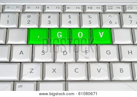 Internet Top Level Domain .gov Spelled On Metallic Keyboard